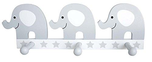 JaBaDaBaDo Wandgarderobe Elefant in weiß-grau