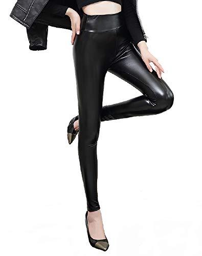 heekpek Pantalon de Cuero Skinny Elásticos Leotardos Pu Leggings Mujeres Invierno Grueso Cálido Forrado Traje Térmico (XL)