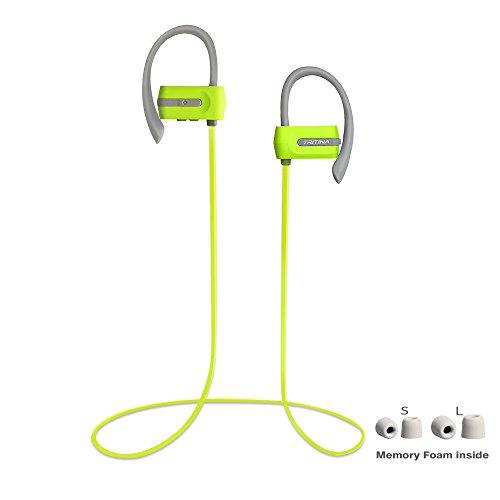 Tritina Sports Headphone in Ear - Auricolari Bluetooth Sweatproof con Microfono - Premium Memory Memory con Auricolari - Stereo HD Noise Cancelling per Palestra Fitness Running Workout - Green