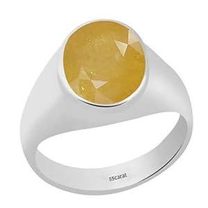 6CT natur gelb Saphir Edelstein handgefertigt 92,5% Sterling Remasuri Bold Ring für Herren