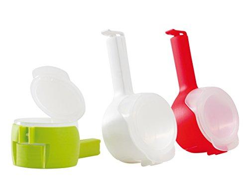3 Stk. Beutelklammern mit Ausgießer und Aroma-Clip / Müslispender / Verschlussklemme   von culivac   BPA frei   sortiert in 3 Farben   mit patentiertem twixit Seal & Pour – System   weiß-rot-grün (Geschirrspüler Mandel)