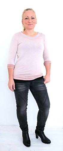 Damen Mode Basic Outfit Langarmshirt Long-Shirt Longsleeve Pulli Pullover Glitzer M L 38 40 42 (8390) Hellrosa