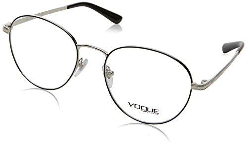 Vogue - VO 4024, Rund, Metall, Damenbrillen, BLACK(352), 52/18/135 (135 Black Brille)