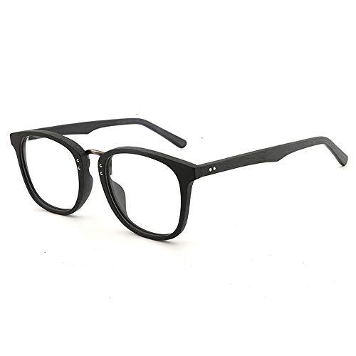 Gläser Großen Rahmen Holzmaserung Brillengestell Retro Brillengestell Handgefertigte Mode Flachglasrahmen Brillen (Color : 01 Schwarz, Size : Kostenlos)