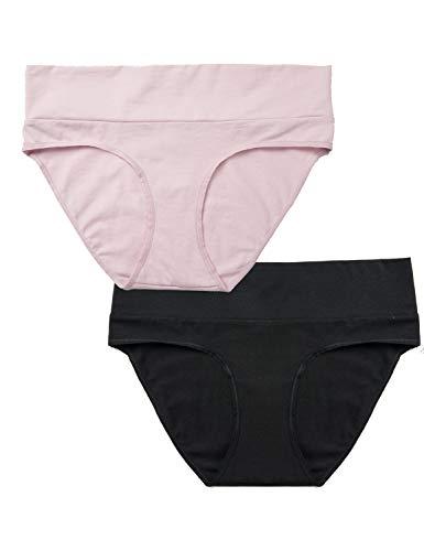Gratlin Mutandine Premaman Cotone Slip per Gestante Gravidanza 2 Pack Nero/Rosa XXL
