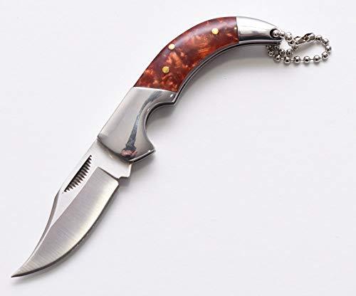 Deluxe UK Legal Nicht Schließend Edc Curvy Faltbar Taschen Messer mit Ergonomisch Weich Braun Poliert Polymer Griff, Stahl Keilkissen & Schlüsselring -
