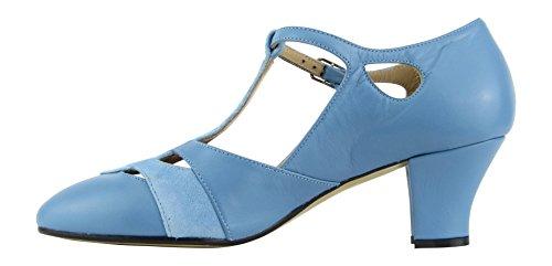 Rumpf Premium Line 9233 Damen Swing Lindy Hop Balboa Tanz Schuhe Leder Absatz 5 cm, Blau, 38 EU - 6