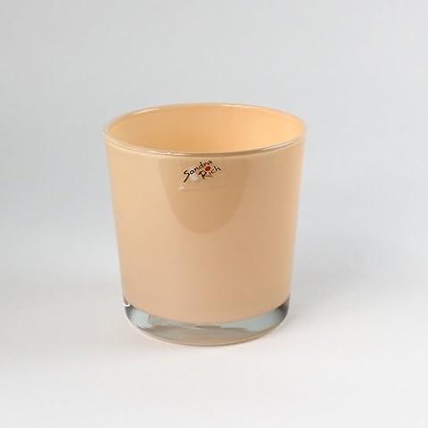 Vaso da fiori di vetro, mod. Candy, altezza 13 cm, diametro 13 cm, albicocca