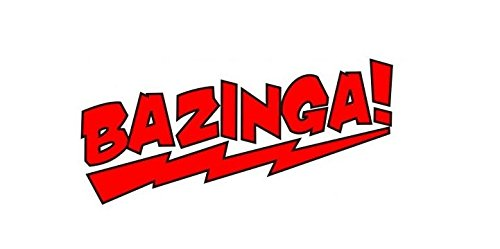 2x BAZINGA rot Aufkleber Sticker Decal ca 10x3.8cm The Big Bang Theory JDM Ken Auto Tuning Styling Motorrad
