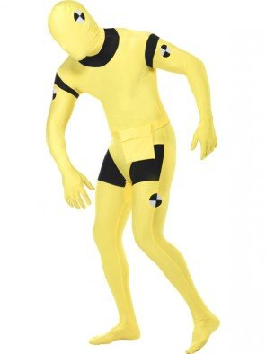 Crash Test Dummy Kostüm für Herren gelb Ganzkörperanzug Gr. M-L, ()