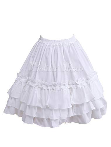 Antaina Weiß Baumwolle Floral Rüschen Layered Viktorianisch Knielang Elegant Lolita Unterrock Kleid Kurzen Rock Faltenrock,S