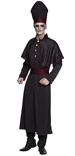 en Männer Kostüm dunkler Horror Geister Priester, Gothic Preacher Dark Zombie Priest, perfekt für Halloween Karneval und Fasching, M/L, Schwarz ()