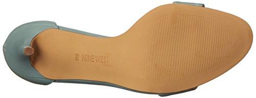 Nove in pelle con tacco del sandalo occidentale Mana Green