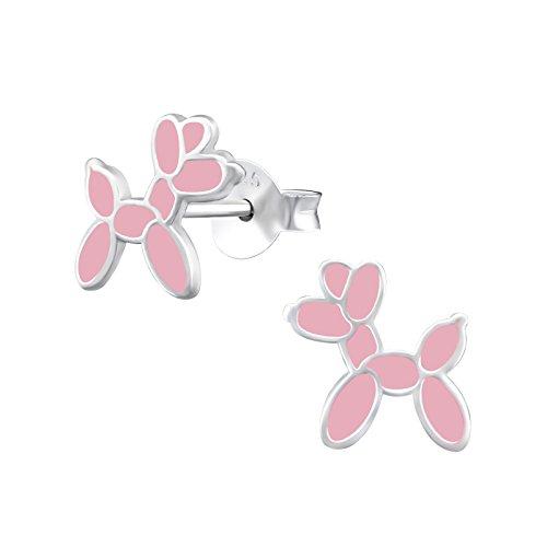 Tata Gisele© pendientes niños en plata 925/000rhodié y email–perro–Balón hinchable Baudruche–Rosa
