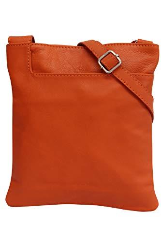 che Ledertasche Schultertasche Crossover Umhängetasche Nappaleder Damen Kleine Tasche NL611 (Orange) ()