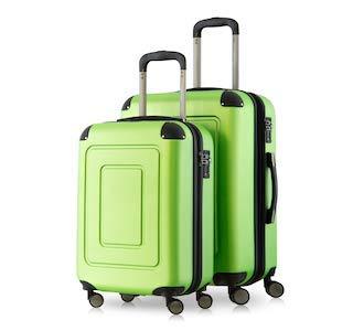 HAPPY TROLLEY by HAUPTSTADTKOFFER® 2er Kofferset · Lugano · TSA · MATT · 44 Liter Handgepäck + 123 XL Reisekoffer (in versch. Farben) (Apfelgrün)