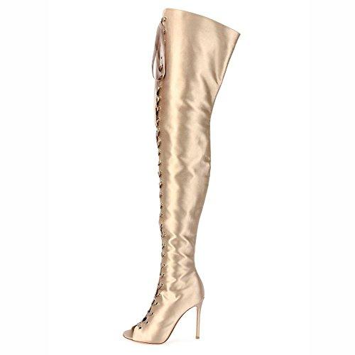 Elegant high shoes Scarpe da Donna PU Autunno Inverno Comfort Stivali Tacco Grosso Stivali al Ginocchio Tacco Punta Rotonda per Casual/Giallo Yellow