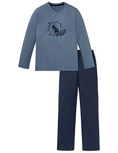 Schiesser Jungen Zweiteiliger Schlafanzug Anzug Lang, Blau (Jeansblau 816), 176 (Herstellergröße: L)