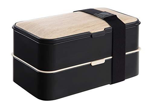 Putwo scatola pranzo, 2 contenitore separato lunch box, microonde cassaforte bento box con posate e banda - nero