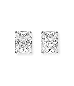 Mbody, Rhodium Plated Sterling Silver, 10x8mm Rectangle Shaped, Clear CZ Set Earring Studs