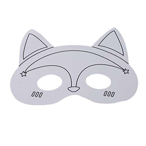 NYAOLE Kinder Papier Maske Kreative Cartoon Tiere DIY Leere Malerei Maske Kinder Malerei Graffiti Kunst Material Kostüm Maske, Fox