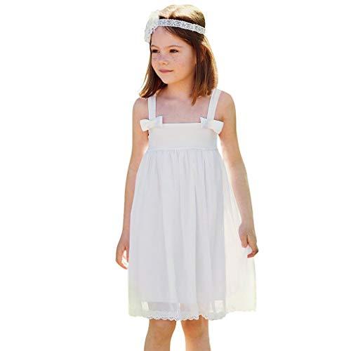 wuayi  Baby Mädchen Kleid, Mädchen Ärmellos Bogen Pure White Lace Kleider 1-5 Jahre