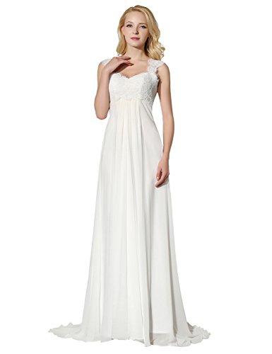 Erosebridal Lange Spitze Brautkleider mit Riemen Chiffon Hochzeitskleid Weiß DE54W