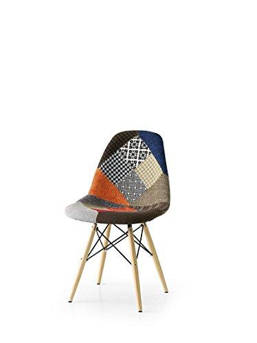 Lo scrigno arredamenti, set 2 sedie in tessuto patchwork art. w674/m bis