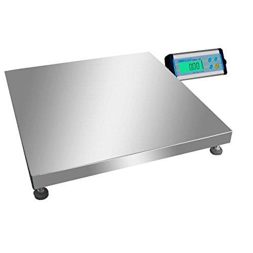 Báscula de suelo, plataforma précise para Entrepot, pèse-colis, con bandeja de acero inoxidable 500x 500mm y visualizador separado-35kg/10g