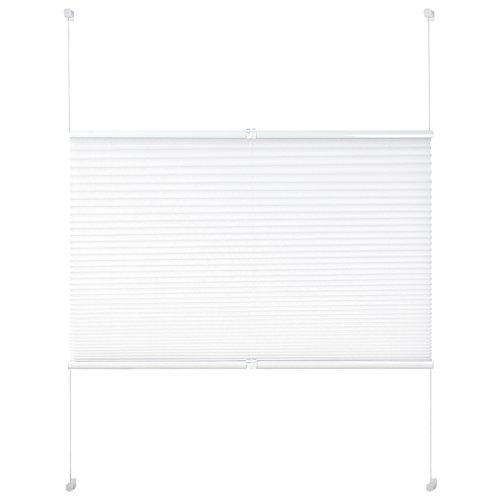 EUGAD VH5544ws Plissee Jalousie Klemmfix ohne Bohren , für Fenster und Tür , Faltrollo Fensterrollo Verdunklungsplissee , easyfix verspannt , 120x130 cm , Weiss
