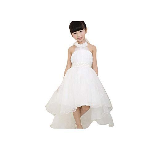 Malloom® Blumenmädchen Prinzessin Kleid Kid Party Pageant Hochzeit Brautjungfer Tutu Kleider Kleid aus Netzstoff (140, weiß)