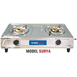 Surya 2 Burner Stainless Steel Gas Stove - brightflame