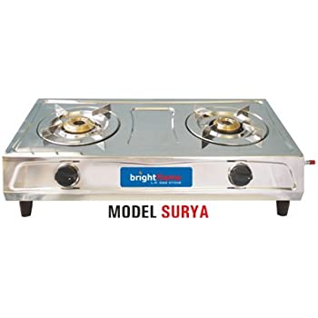 surya 2 burner stainless steel gas stove brightflame