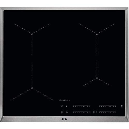 AEG IAE64411XB Plaque de cuisson à induction avec fonction Hob2Hood, capteur de surchauffe/fonction Power/plaque vitrocéramique avec cadre en acier inoxydable/détection de tops/noir