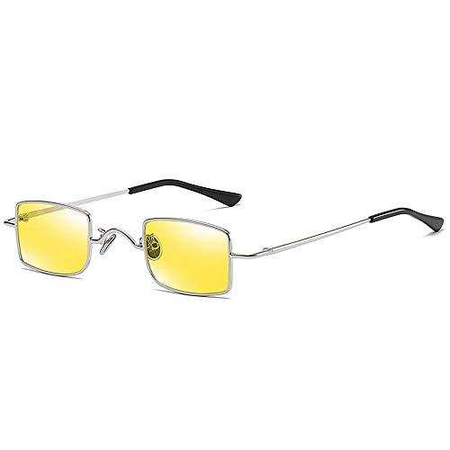 WULE-RYP Polarisierte Sonnenbrille mit UV-Schutz Metall Square Mini Box Retro Sonnenbrillen Spezielle Sonnenbrillen für Männer und Frauen. Superleichtes Rahmen-Fischen, das Golf fährt (Farbe : Gelb)