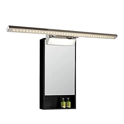 Lonfenner Moderne inox LED phares rectangulaire salle de bain miroir lumières LED feux miroir lumières montées maquillage miroir lampe appliques (75cm) , Warm Yellow Light