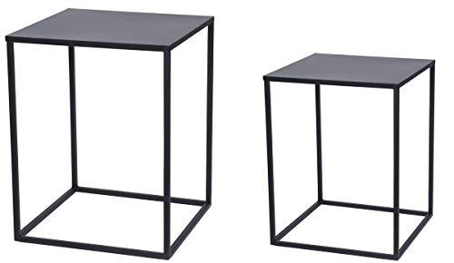 made2trade Hochwertiges 2er Set Bestelltische aus Metall - Weiße Outdoor-beistelltisch