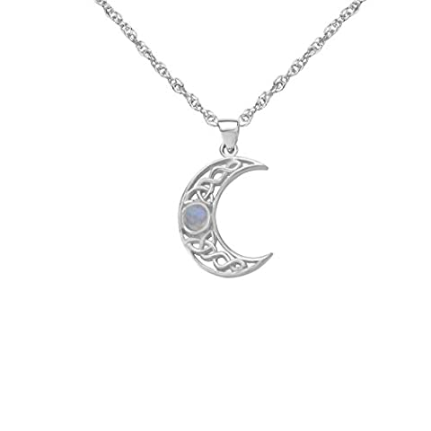 Celtic Silver Crescent Pendant with Moonstone 9424 (Sterling