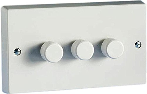 Varilight Classic White Plastic 3 Gang LED Trailing Edge Dimmer Switch 1 or 2 Way