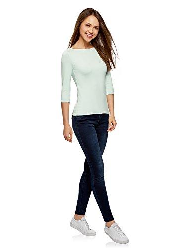 f579dcb85e98 ... oodji Collection Damen T-Shirt Basic mit 3 4-Ärmeln Grün (6500N ...