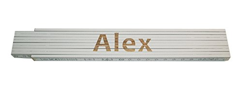 Preisvergleich Produktbild Persönlicher Zollstock / Meterstab weiß mit Gravur Alex