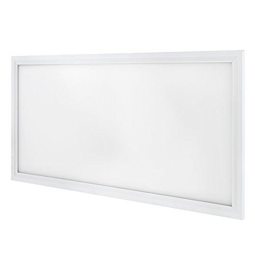 G.W.S Premium Ultra Slim White Frame 595 mm x 295 mm Rechteckige LED Pendelleuchte Büro-Deckenlampe mit Draht Kit enthalten, Neutral White (24w), (24W) UK, Wiring 24.00watts 240.00volts -