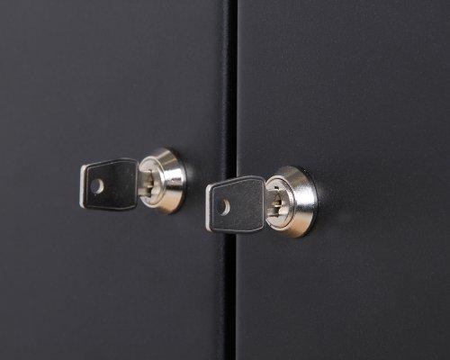 Ondis24 Montagewerkbank mit 2 geschlossenen Türen und 2 Schubläden, Werkstattschrank mit offenem Mittelteil, Eurlochung Schlüssellochung Werkzeugwand mit 22 Werkzeughalter - 4