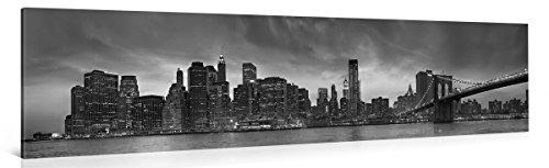 Gallery of Innovative Art - Black & White Manhattan 3 - 120x30cm - Larga stampa su tela per decorazione murale - Immagine su tela su telaio in legno - Stampa su tela Giclée - Arazzo decorazione murale