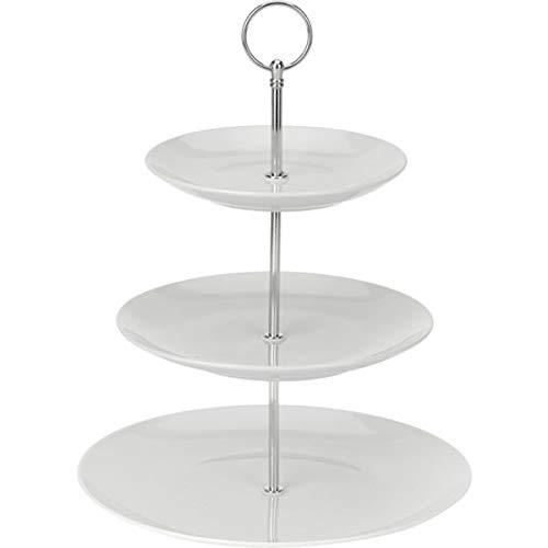 Excellent Houseware 628900040 Etagère Porzellan, 3-stufig, weiß 3 Ablagefächer