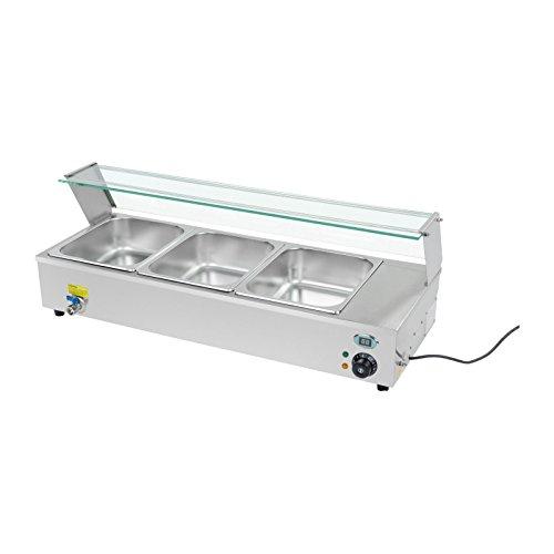 Royal catering rcbm-3 bagnomaria elettrico professionale 3 x 1/2 gn (1300 w, 30-90 °c, 95x40x16 cm, aciaio inox, rubinetto di scarico, vetro di protezione)