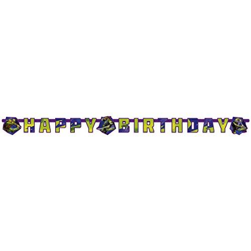 Turtles Girlande Partykette 180 x 15 cm Kindergeburtstag Deko Happy Birthday Kinderparty Banner Party Wimpelkette Jungen Geburtstagsgirlande Junge Raumdeko Geburtstag ()