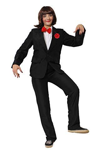 Bauchredner Dummies Kostüm - BAUCHREDNER Halloween MÖRDER Puppen KOSTÜM VERKLEIDUNG=BEINHALTET- SCHWARZEN Hosenanzug+ROTE Fliege+ROTE Plastik NELKE + ROT/SCHWARZ/WEISSES Make UP+BRAUNE PERÜCKE-XLarge
