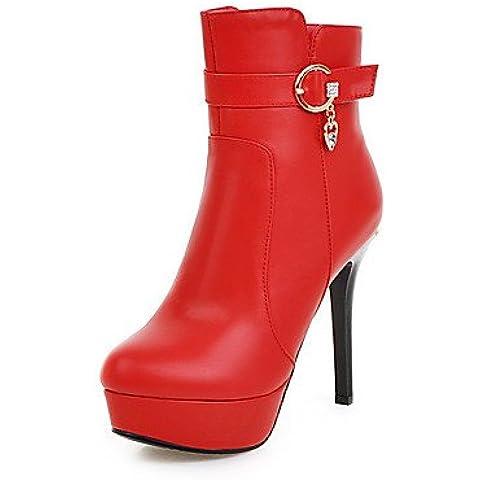 Le donne del Basso Top Solid Zipper Round punta chiusa punte Stilettos stivali,rosso,US9 / EU40 / UK7 / CN41