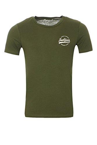 Jack & Jones Herren T-Shirt Kurzarmshirt Shirt Print O-Neck Thyme (Fit:REG)